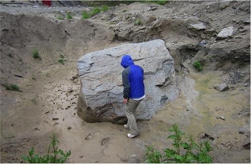 大船渡の吉浜にある隕石が落ちた穴のようなクレーター